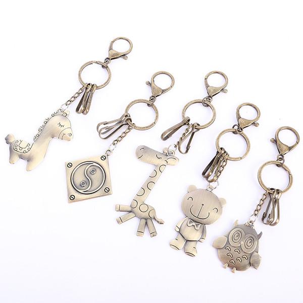 Bär Giraffe Pferd Giraffe Schlüsselanhänger Frauen Schlüsselanhänger Auto Eule Metall Schlüsselbund für Schlüssel