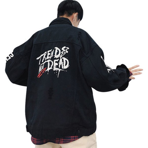 Autumn Vintage Denim Jacket Men Black Hip Hop Japanese Streetwear Steampunk Korean Clothes Overcoat Mens Jackets And Coats 5na14