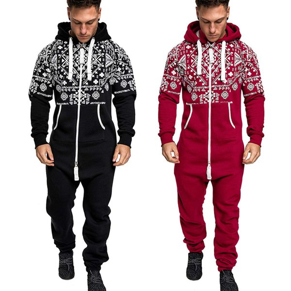 2019 2019 Men\u0027S Xmas Autumn Winter Casual Hoodie Print Christmas Zipper  Print Jumpsuit Hot Sale Plus Size Black,Red,Gray Colors From Cagney, $32.89