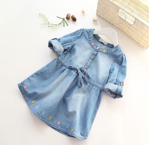 Горячие продажи моды Девушки джинсовые платья Детские мягкие хлопковые платья девушки с длинными рукавами цветок вышивка платья детские платья в стиле Блузы T191006