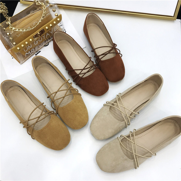 Hot Sale-2019 77 Ukraine Joker Solid Color Both Bring Crossing Ballet Set Foot Velvet Noodles Flat Small Single Shoe Women's Shoes
