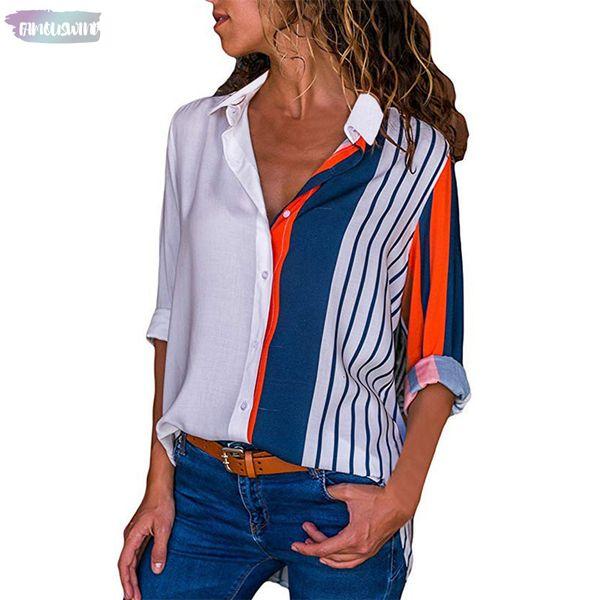 Regular-beiläufige lange Hülsen-Bluse Shirts Farbblock Striped Knopf Bluse Büro-Damen-Oberteile Damen Femme Street Blusas Mujer
