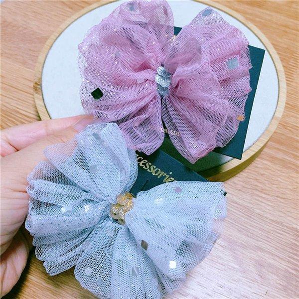 Korean fashion lace hair bows girls hair clips sequin princess baby BB clips sweet kids barrettes designer hair accessories for kids A6542