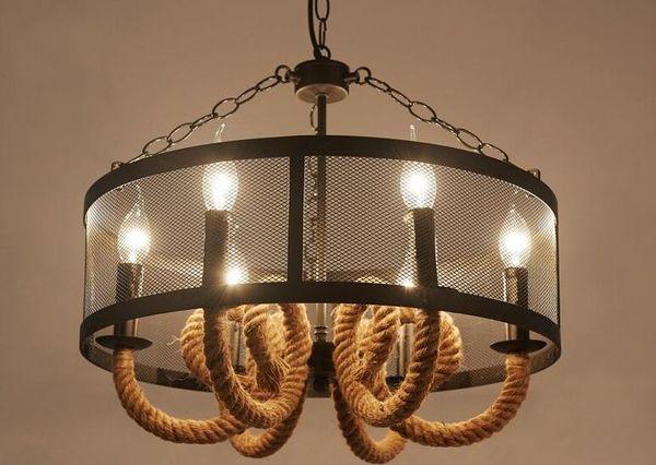 Colgante de iluminación de la lámpara creativa de cáñamo cuerda personalizado artísticos candelabros tema restaurante café club MYY vendimia industrial estadounidense