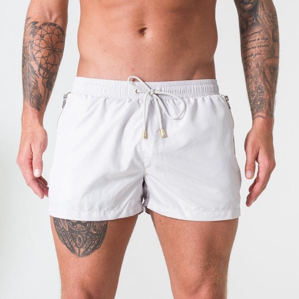 Shorts Men Summer Beachwear White Quick Dry Breathable Drawstring Pocket Sports Fitness Gym Workout Short Pants Sportswear