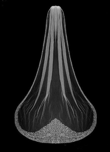 Lüks Kristal Gelin Veils Bir Katmanlı Katedrali Uzun Bling Bling Boncuklu Düğün Peçe Fildişi Veya Beyaz Peçe Ile