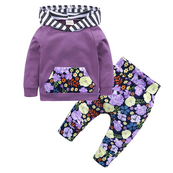 LZH Newborn Baby Boys Clothes 2018 Autumn Winter Baby Girls Clothes Set Hoodie+Pants 2pcs Outfits Kids Baby Suit Infant Clothing Y190515
