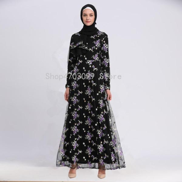 Ladies-Robe Women Embroidery Dress Lace Dubai Double-deck Muslim Robe Elegant Fashion Middle East Gown Turkey Robe