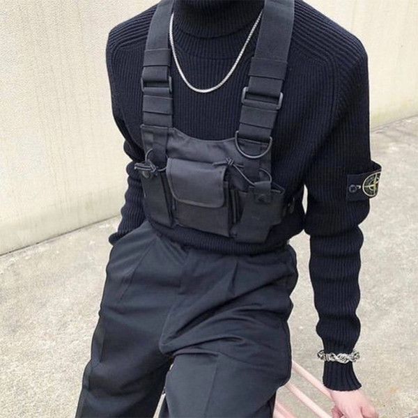 2019 New Nylon Chest Rig Bag Black Vest Hip Hop Streetwear Functional Tactical Harness Chest Rig Kanye Bag