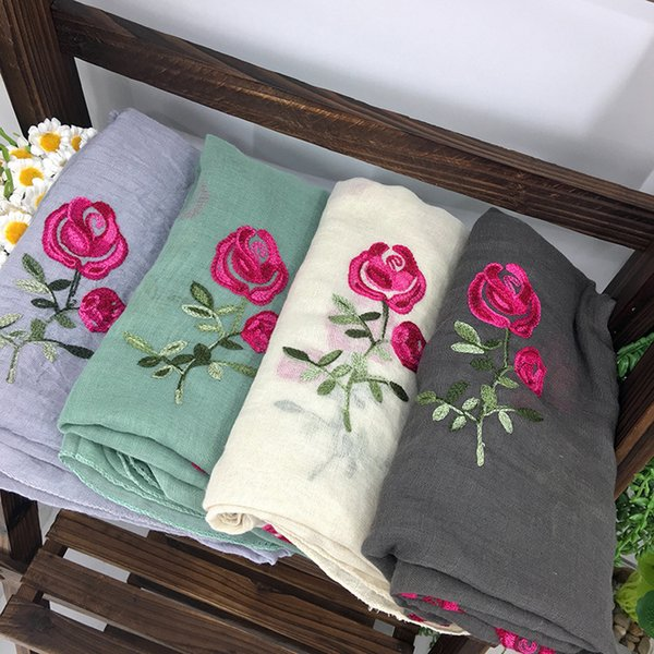 10 Pcs/lot Embroidered Scarf Womens Cotton Scarves Rose Flower Embroidery Scarf Muslin Viscose Hijab Foulard Femme SH190729