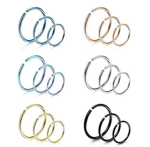 1PCS Women Gold Steel Color Nose Hoop Stud Rings Clip On Nose Ear Bone Nail Sexy Body Piercing Jewelry