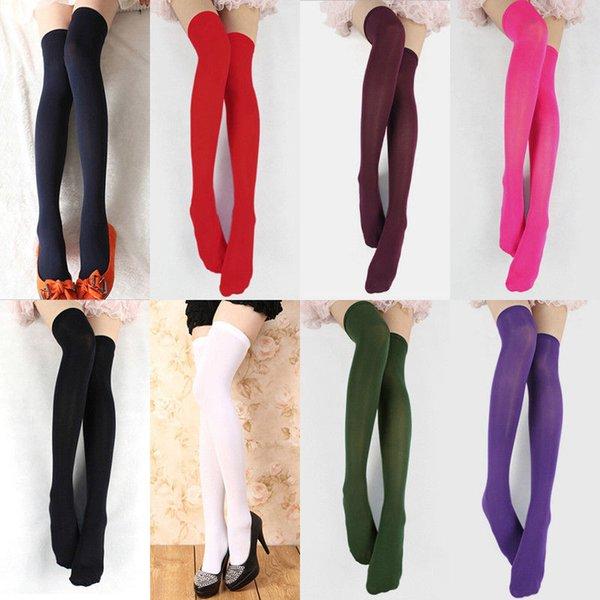 Sıcak 1 Çifti 8 Renkler Kadınlar Kız Diz Çorap Kızlar Bayanlar Kadınlar Katı Çorap Uyluk Yüksek Üzeri