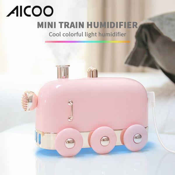 Humidificateur d'atomisation de train rétro AICOO Mini avec lumières ambiantes colorées Silencieux Calendrier Art Van Cadeau Humidificateur Paquet de vente au détail