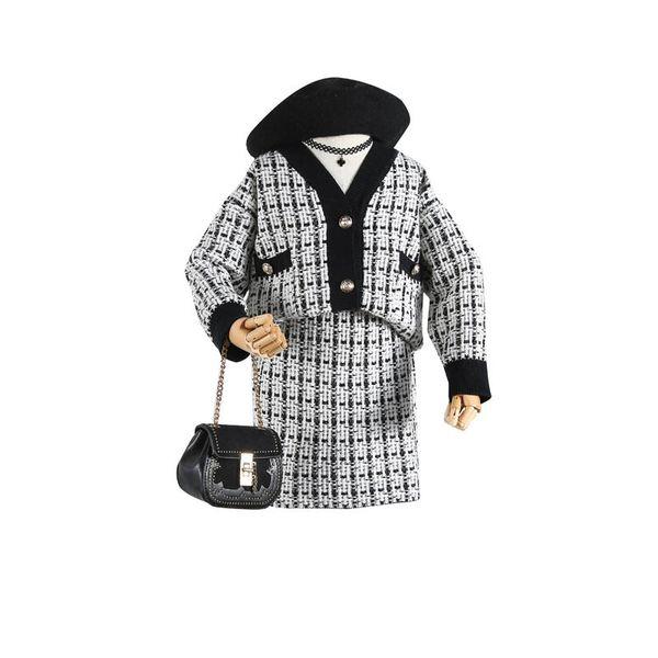 Neue 2019 Herbst Mädchen Anzüge Boutique Kinder Outfits Kinder Designer Kleidung Mädchen Pullover Strickjacke + Röcke Mädchen Herbst Boutique Kleidung A7317