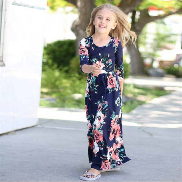Clothes Mom Daughter Boho Style Floral Print Beach Dress Long Maxi Tunic Vestidos Mommy And Me Dresses Matching Family Outfits Y19051103