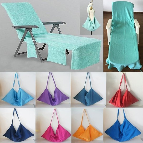 Portable Beach Chair Cover Beach Towel Microfiber Pool Lounge Chair Cover Blankets With Strap Beach Towels Double Layer Blanket AA17