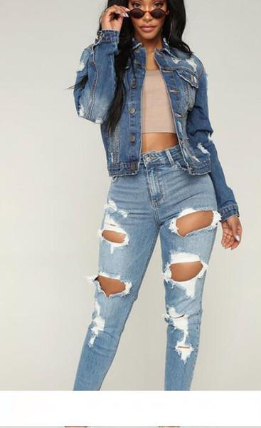 Fashion Ripped Jeans Denim Joggers Knee Holes Slim Fit Jeans For Women Blue Rock Star Womens Jumpsuit Destroyed Jeans Boyfriend Pencil Pants