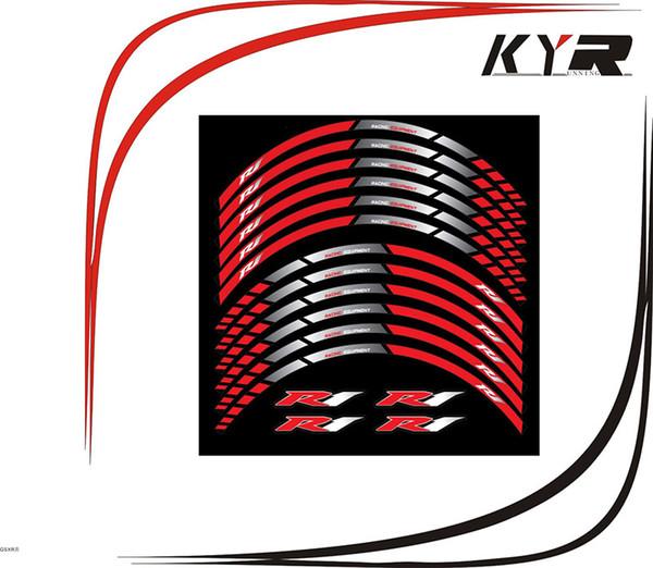 KYRUNNING para YAMAHA R1 Calcomanías de ruedas de motocicleta de uso general Pegatinas reflectantes rayas de llanta Para YAMAHA R1