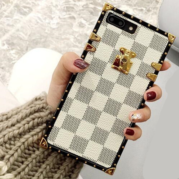 Luxury Grid Designer Cover Fashion Phone Cases For iPhone X XR XS Max 8 7 6 6s Plus S9 Note 9 soft Shell Skin Hull with phone String GSZ508