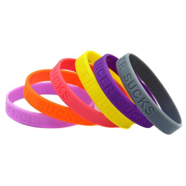 "PBR162(10), ""CANCER SUCKS"" Print Pink/Purple/Yellow/Orange/Gray Ribbon Cancer Awareness Wristband Silicone racelets"