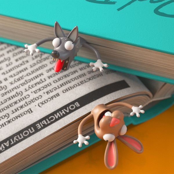 best selling Creative 3d Animal Bookmark Original Design Cute Funny Cat Student With 2 Pieces Bookmark Kid Cooperative wholesale