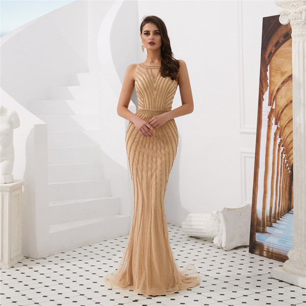 Burgundy Sparkling Crystal Mermaid Prom Dresses Sleeveless Illusion Formal Evening Dresses Plus Size Special Occasion Dresses robe de soiree
