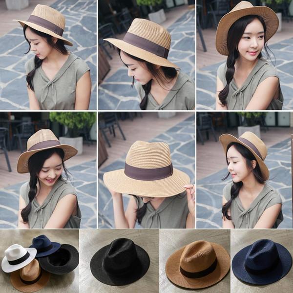 Summer Floppy wide Straw Beach Sunhat brim Hats For Women,Beach Headwear,Wide Brim Panama Hat for party vocation beach