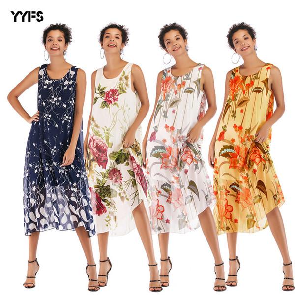 Explosive Money Women's Clothes Sandy Beach Skirt Sleeveless T-shirts Printing Large Pendulum Chiffon Dress