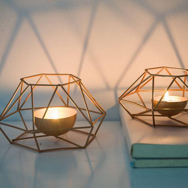 Klassische Geometrische Eisen Kerzenständer Wand Kerzenhalter Ornament Wandleuchte Passende Teelicht Stahl Minimalistischen Hochzeit Home Decor Geschenk