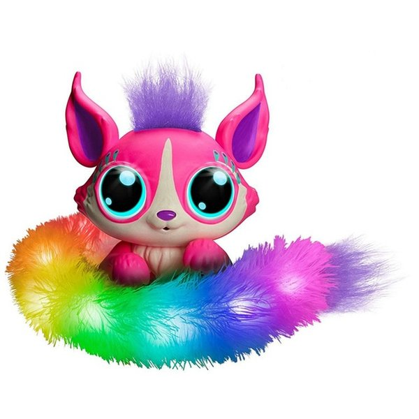 HUAILE Plush toy Lil Gleemerz Acousto-optic Touch Interactive Pet Magic Color Tail Fox Figure Funny Model Toys Kids Christmas G