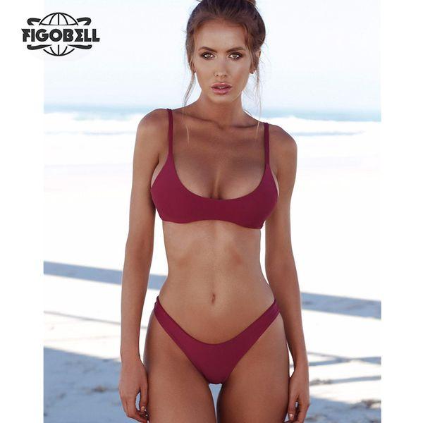 f26feb15d8cc Compre 2019 Nueva Moda Mujeres Bikini Set Sexy Bikini Brasileño Sólido  Traje De Baño Cintura Baja Tanga Bikini Traje De Baño Ropa De Playa Maillot  ...