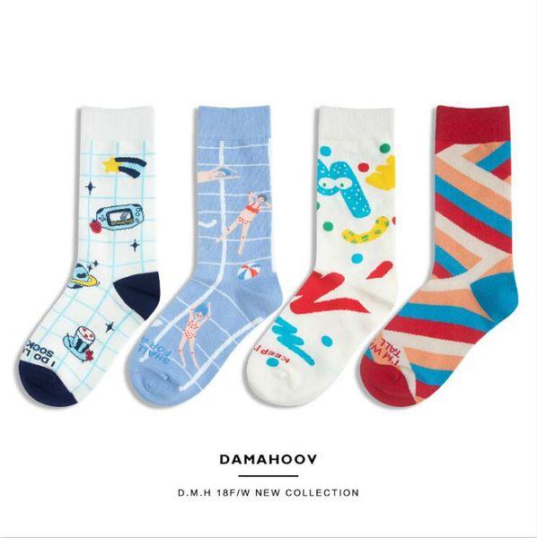 Модный дизайнер Женские носки нижнее белье бренд длинные носки для женщин мультфильм милый узор роскошные прохладные чулки удобная одежда