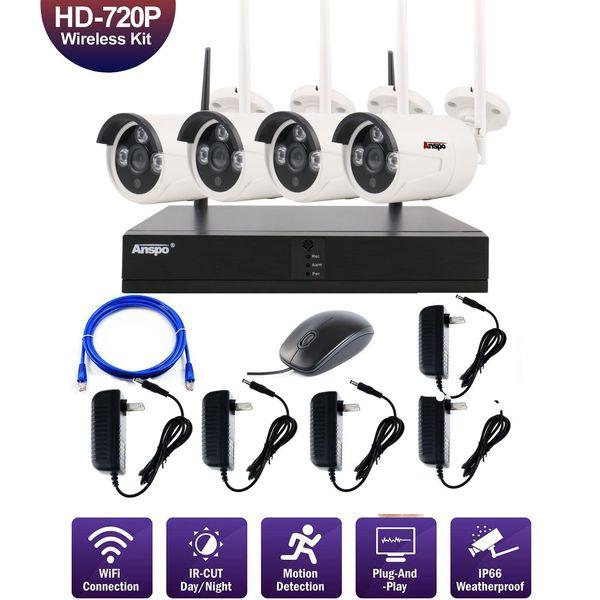 4pcs 4CH Wireless Security Camera System WiFi Camera Kit NVR 720P Night Vision IR-Cut CCTV Home Surveillance System Waterproof