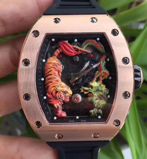 Luxus Herren Mechanische Skeleton Uhr Modemarke Schwarz Gummi Rose Gold Edelstahl Tiger Dragon Face Japan Miyota Männer Business Armbanduhr