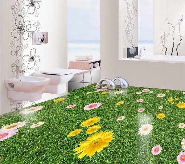 Green Lawn 3d Flower Floor Decoration Painting 3d Bathroom Wallpaper Waterproof Widescreen Desktop Wallpapers Widescreen High Definition Wallpapers