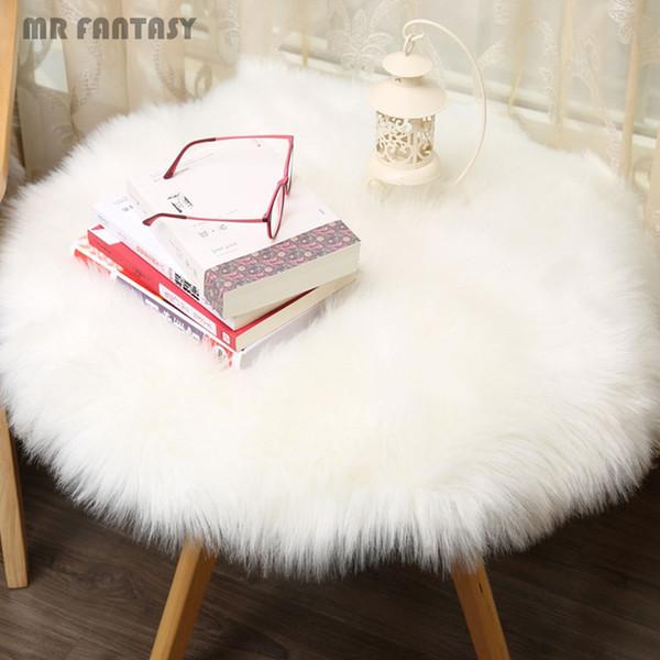 Round Artificial Sheepskin Chair Cover Seat Pad Soft Carpet Hairy Plain Skin Fur Plain Fluffy Area Rugs Bedroom Faux Carpet GPD