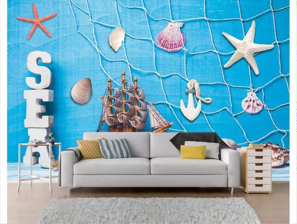 Custom 3d photo murals wall paper home decor Nordic modern minimalist three-dimensional Mediterranean living room TV sofa wall decoration