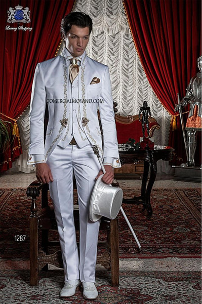 Classic Italian Embroidery Men Suits for Wedding Custom Ivory White Tailcoat Long Dress Groom Tuxedos Costume Homme Mariage