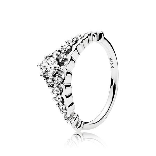 Klar CZ Diamant Fairytale Tiara Ring Original Box für Pandora 925 Sterling Silber Krone Frauen Ehering Set