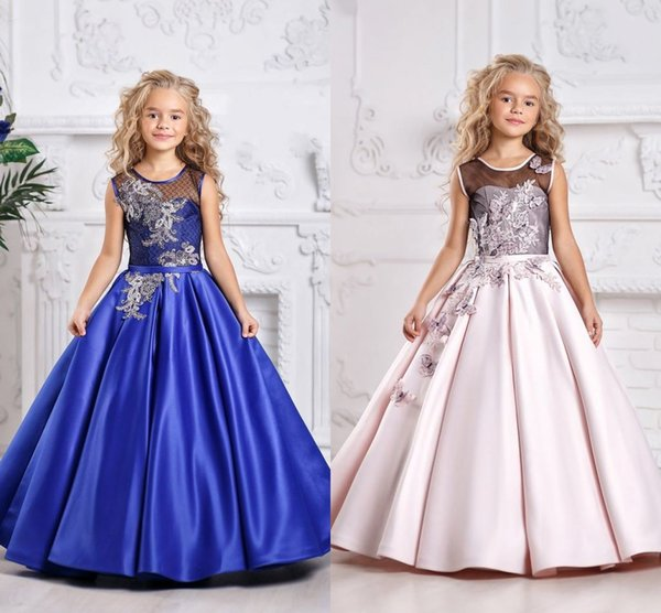 top popular Holy Royal Blue Lace Princess Flower Girl Dresses 2019 Ball Gown First Communion Dresses For Girls Sleeveless Tulle Toddler Pageant Dresses 2019