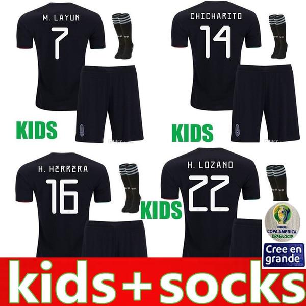2019 Copa Americ México Kids kit Camisetas de fútbol CHICHARITO LOZANO CHUCKY Chicos Camisetas de fútbol Uniformes Juventud G DOS SANTOS camisetas de fútbol