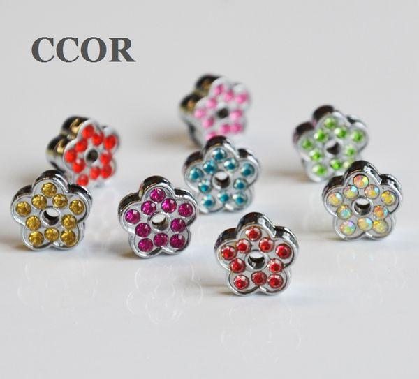 10PCs Full Rhinestone 8MM Flowers Slide Charms Fit 8mm Pet Collar Name Belts Bracelets Keychain Tags