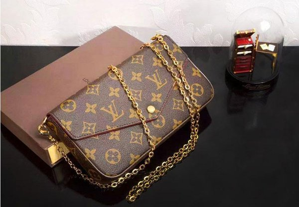 ACCESSOIRES M40712 LONG CHAIN WALLETS KEY CARD HOLDERS PURSE CLUTCHES EVENING