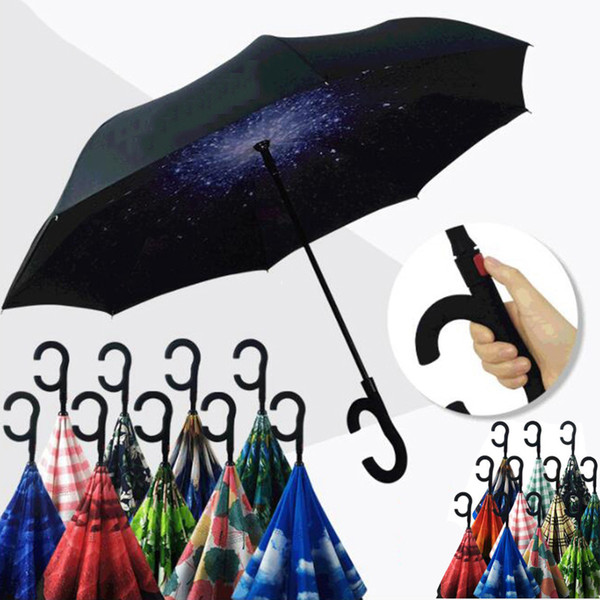 best selling Flower Pattern Umbrellas Inverted Umbrella Sunny Rainy Folding Umbrellas C Handle Double Layer Self Stand Inside Out Reverse Windproof YM001