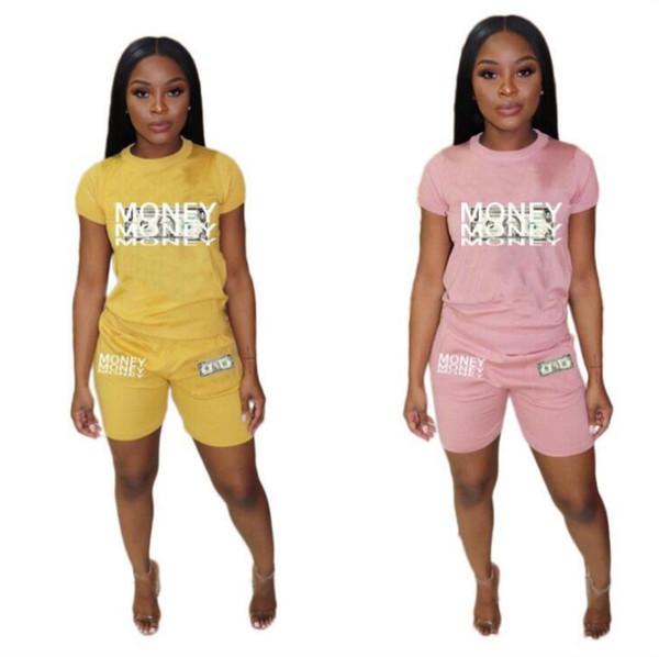 Womens outfits short sleeve two piece set tracksuit jogging sportsuit shirt short legging outfits sweatshit pants sport suit hot klw1155
