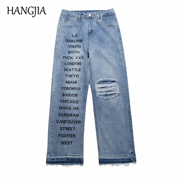 best choice attractive price discount 2019 Blue Baggy Jeans Mens Streetwear Fashion Wash Hole Loose Dad'S Jeans  Harajuku Hip Hop Letters Embroidery Denim Pants From Renmazuo, $48.04 | ...