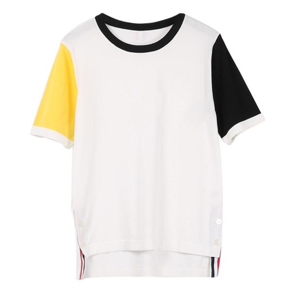 Kadınlar Nefes Gömlek 2019 Yeni Casual Bayan Tasarımcı T Shirt% 100% Pamuk Mikro bölüm Nakış O-Boyun Rahat Kadın Gömlek Boyutu S-L