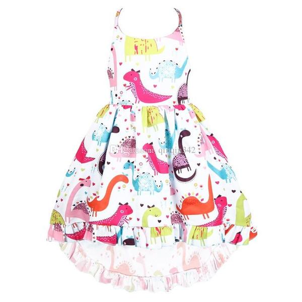 New 2019 Kids Girls sundresses Halter skirts for children An irregular Halter Skirt Short front and Long back Colorful Girls Dress
