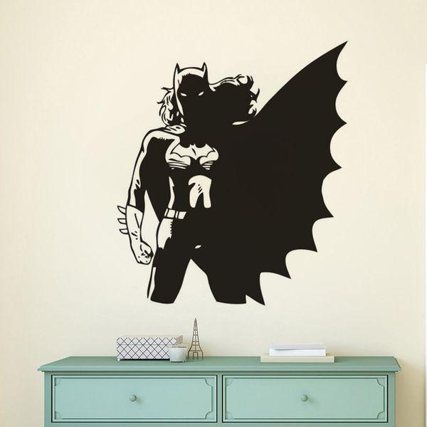Superhéroe Batgirl Etiqueta de La Pared Niñas Dormitorio Decoración Cool Vinyl Tatuajes de Pared Superhero Theme Poster Art AZ733