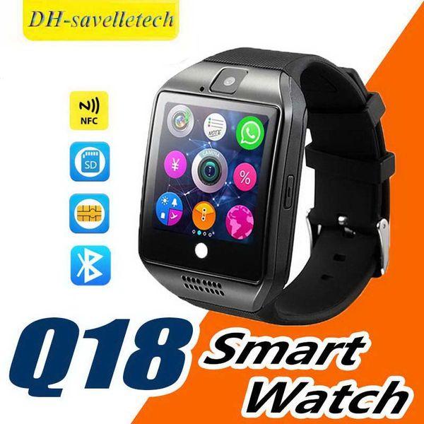 Q18 Smart Watch 4 colori Orologi Bluetooth Android con fotocamera 0.3M MTK6261D Smartwatch per telefono Android Micro SIM TF card Uomo Sport
